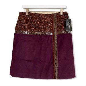 Worth New York NWT Merlot Wool Tweed Skirt